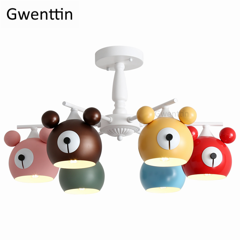 Cartoon Bear Modern Chandelier Lighting Dining Room Children's Room Kitchen Hanging Lamps Bedroom Lamp Light Fixtures Lustre|Chandeliers|Lights & Lighting - title=