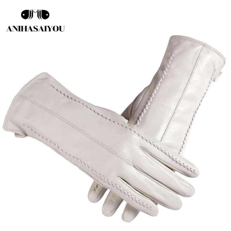White leather women's gloves, Genuine Leather, cotton lining warm, Fashion leather gloves, leather gloves warm winter S-18
