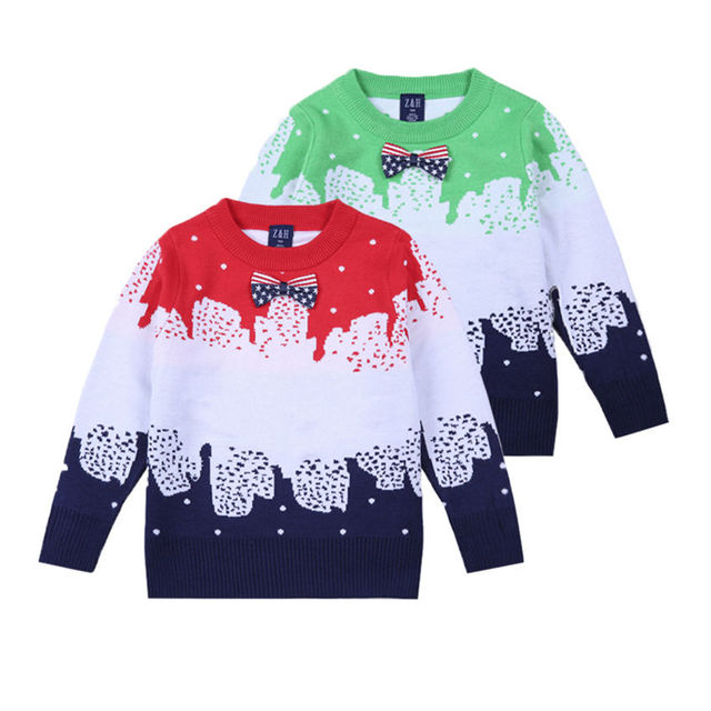 2017 new desgin Beautiful snowflakes bow cotton knitted sweater cardigan children Autumn winter outfit new child leisure coat