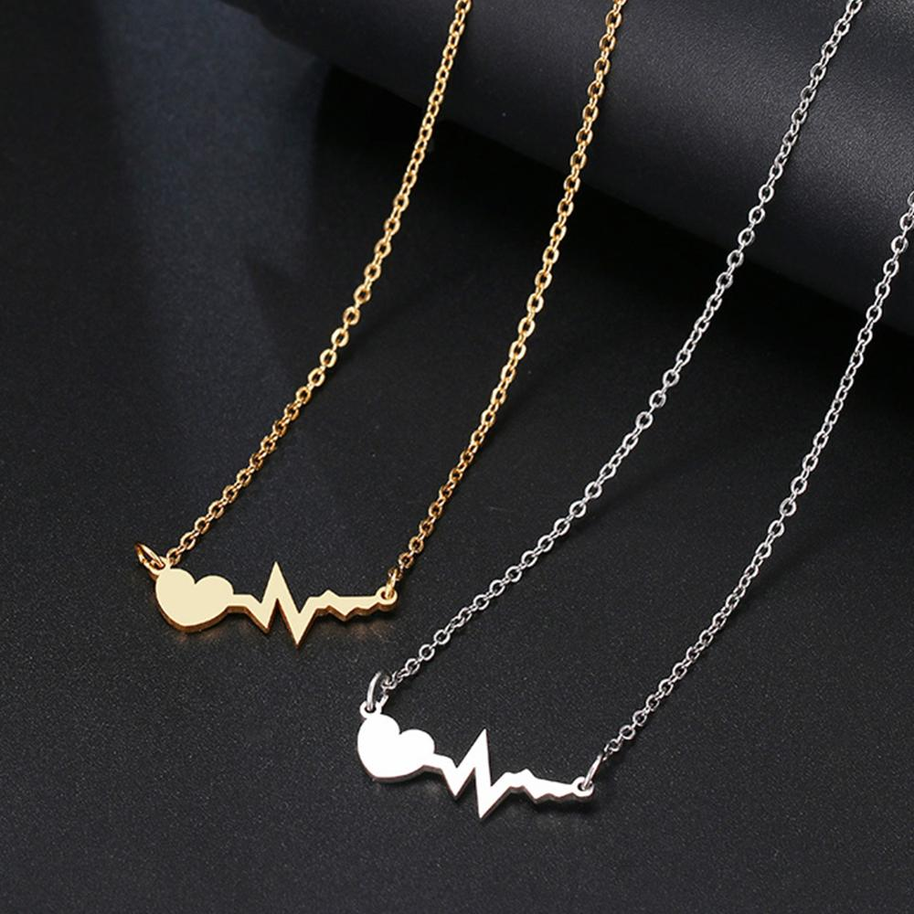 Necklace Electrocardiogram Women Jewelry Stainless-Steel Gold Silver-Color for And Love