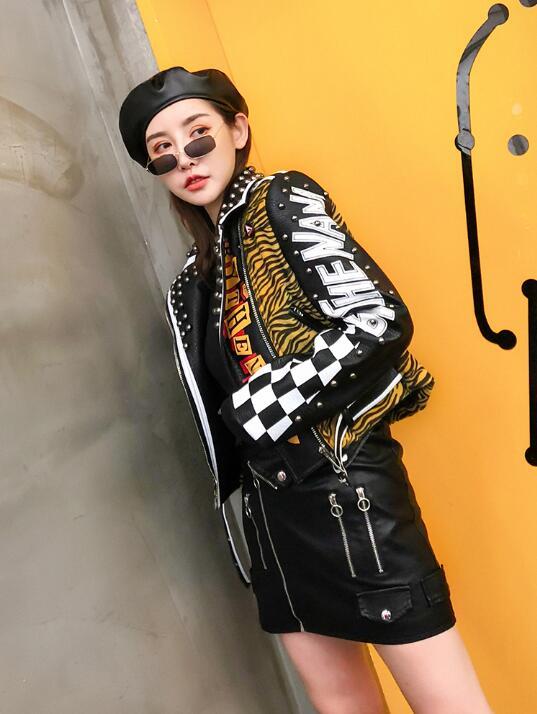 Recadrée Vestes Col 2018 down Automne Noir Court Turn Cuir Femmes Dames Moto Manteaux Style En Punk Veste Clouté Léopard wZqBrawR