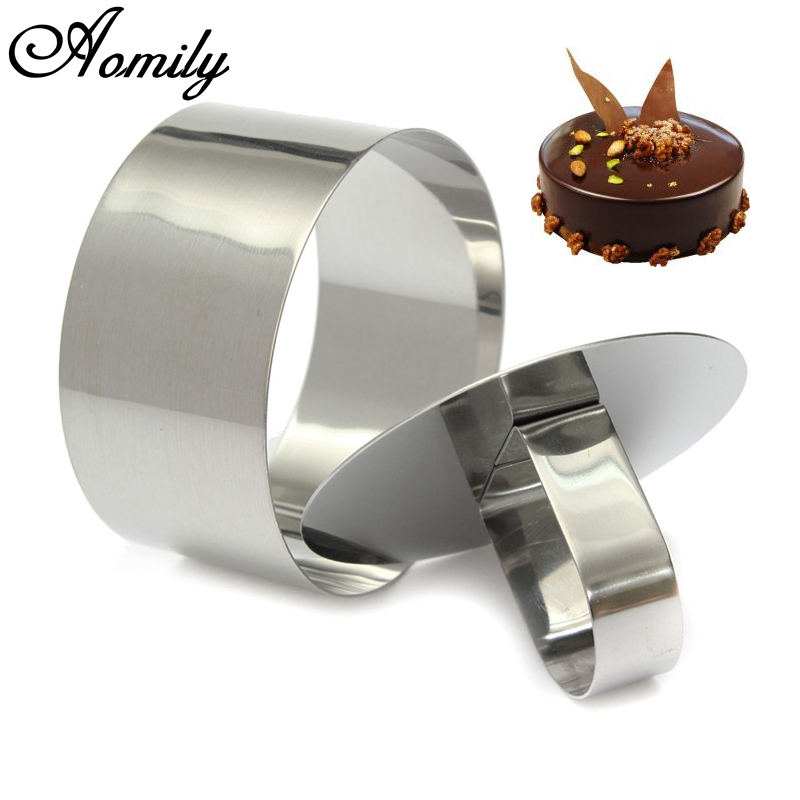 Aomily DIY Fondant Mousse Cake Mold Stainless Steel Decorating Tools Round Silver Ring Slicer Cutter Hand Push Baking Cooking