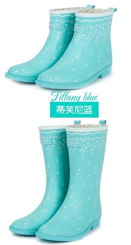 Style De Ciel high Bleu Pluie Mode Nouveauté Imperméables PluieFille Chaussures 2 40 2019 Femmes pu Wellies Court Bottes Marque 35 high UMVqSzp