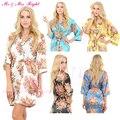Palavras DIY 10 Cores Floral Silk Robes Roupão de Cetim de Dama de honra Curto Noiva Robe Pijamas Vestir Vestido de Noiva Kimono