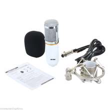 Model New Condenser Microphone Audio Studio Recording Microphone with Shock Mount White BM-800