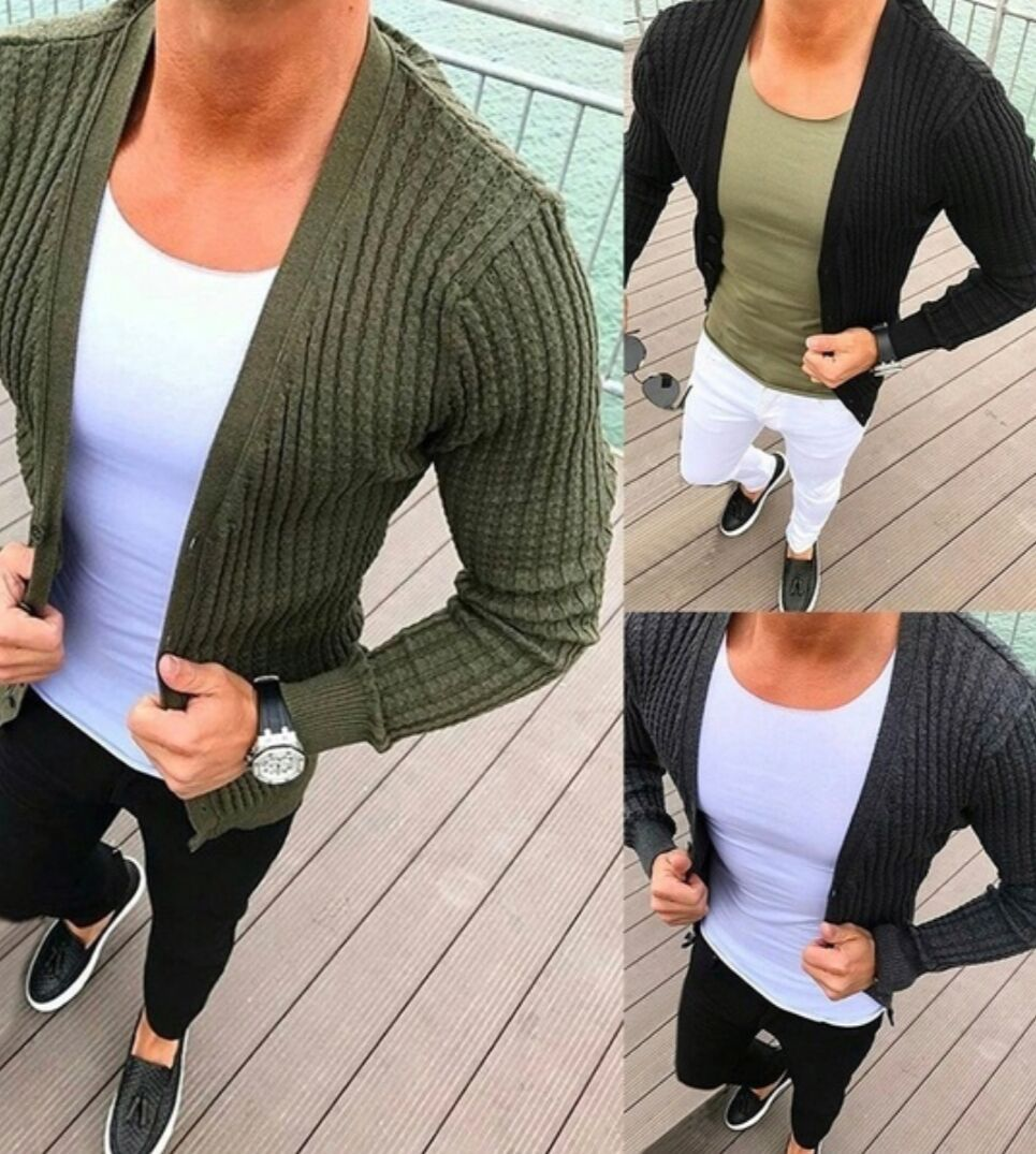 Cardigan Sweater Coat Men 2018 Hot New Casual Slim Solid Sweaters Warm Knitting Jumper Plus Size 3XL Long Sleeve V Neck Cardigan