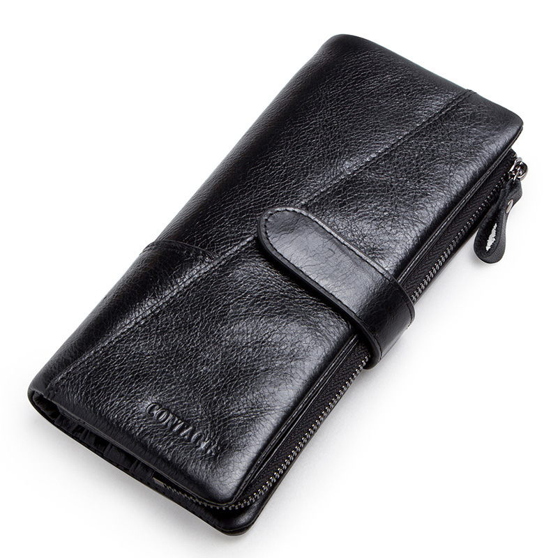 CONTACT'S genuine leather men's long wallet with phone bag zipper coin pocket purse male clutch wallets for men portfel small 2