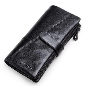 Image 3 - CONTACTS محفظة طويلة جلد أصلي للرجال مع حقيبة الهاتف سستة عملة جيب محفظة الذكور مخلب محافظ للرجال Portfel صغيرة