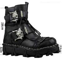 Centencary Men's Cowhide Genuine Leather Work Boots Military Combat Boots Gothic Skull Punk Motorcycle Martin Boots