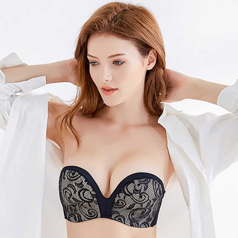 520013e4d Sexy Lace Invisible Bras For Women Strapless Bra Push Up Backless Lingerie  1 2Cup Bralette