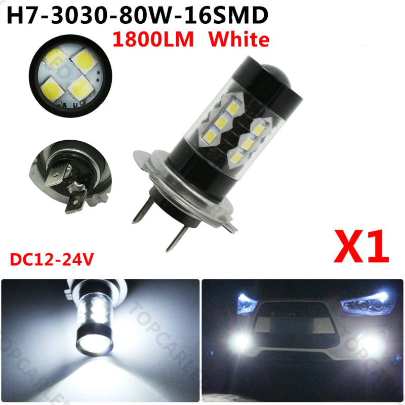 H7 <font><b>LED</b></font> Auto <font><b>Fog</b></font> Lights 1800LM 80W <font><b>16</b></font> Chips 3030 SMD Bulbs 6000K White <font><b>Lamp</b></font> For Car Auto <font><b>Fog</b></font> Light Driving Parking Light DC 12V image