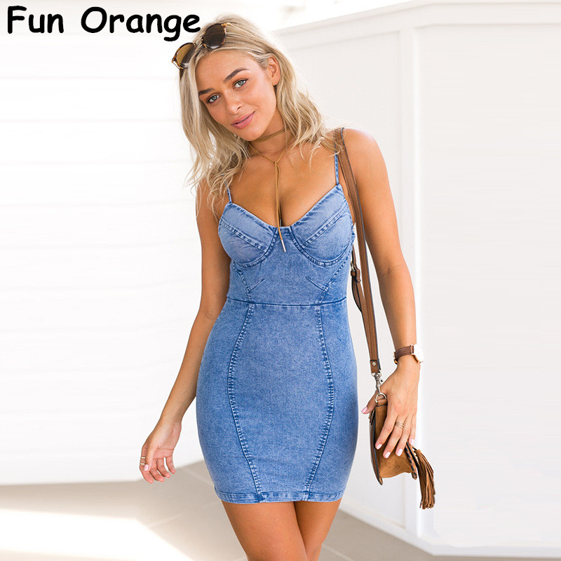 Fun Orange Women Y Backless Denim Dress Vintage Bodycon Summer Beach Party Short Dresses Casual Blue Vestidos In From S