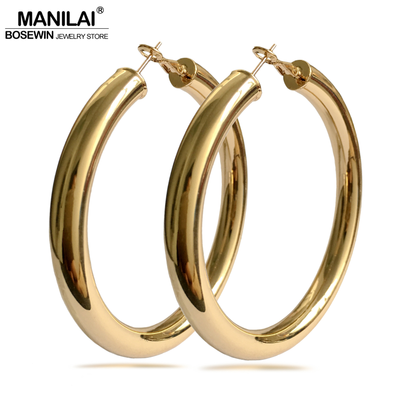MANILAI Classic 70mm Diameter Wide Copper Big Hoop Earrings Fashion Jewelry Statement Earrings For Women 2018 Brincos Punk