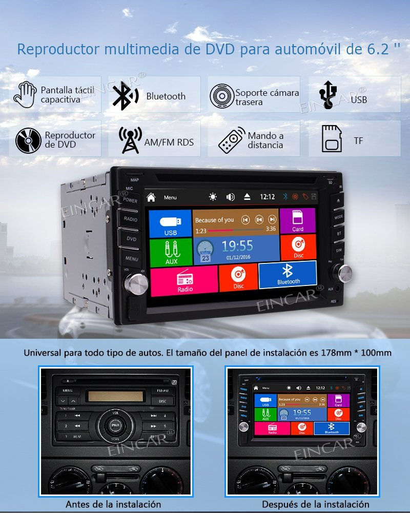2DIN Touch Screen Bluetooth Car Video Player Autoradio Stereo DVD Player FM AM Radio support/AUX/TF/Camera Input/1080P Video