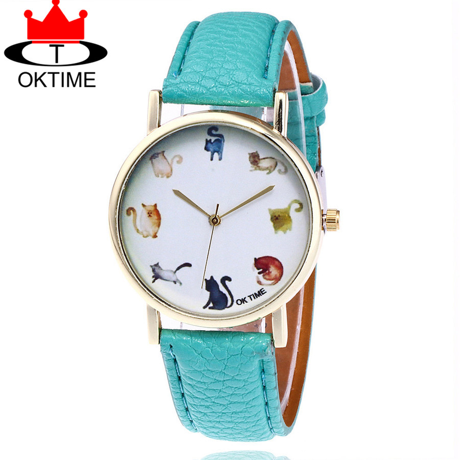 Hot Selling OKTIME Fashion Lovely Cat Watch Casual Women Leather Strap Quartz Watches Relogio Feminino Gift KT19