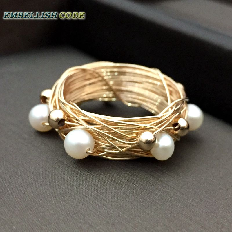 NEW Designer Bird nest style ring gold beads with 6 round like ball pearls golded Wire