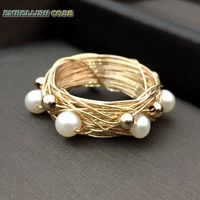 NEW Designer Bird nest style ring gold beads with 6 round like ball pearls golded Wire hand make ring