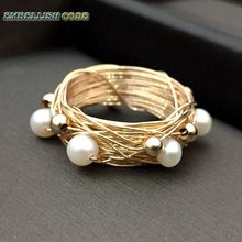 NEW Designer Bird nest style ring gold beads with 6 round like ball pearls golded Wire hand make ring new design original pieces gold with baroque ring pearls hand make rings peacock brown grey mixed color