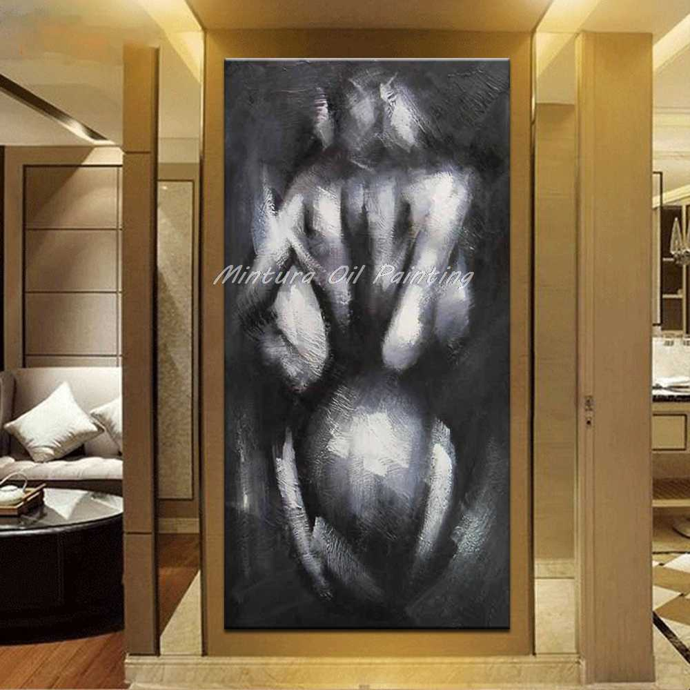 Mintura Large Size Hand Painted Sexy Naked Women Oil Paintings on Canvas Modern Abstract Wall Picture For Living Room Home Decor