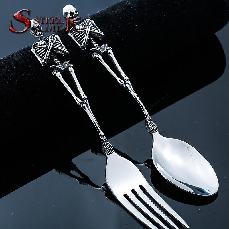Aço soldado garfo e colher incrível trabalho de arte de aço inoxidável alta qualidade única moda artesanato