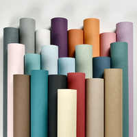 Mediterranean Classic Solid Color Blue Orang Grey Wall Papers Home Decor Non Woven Fiber Wallpaper Roll For Room Wall