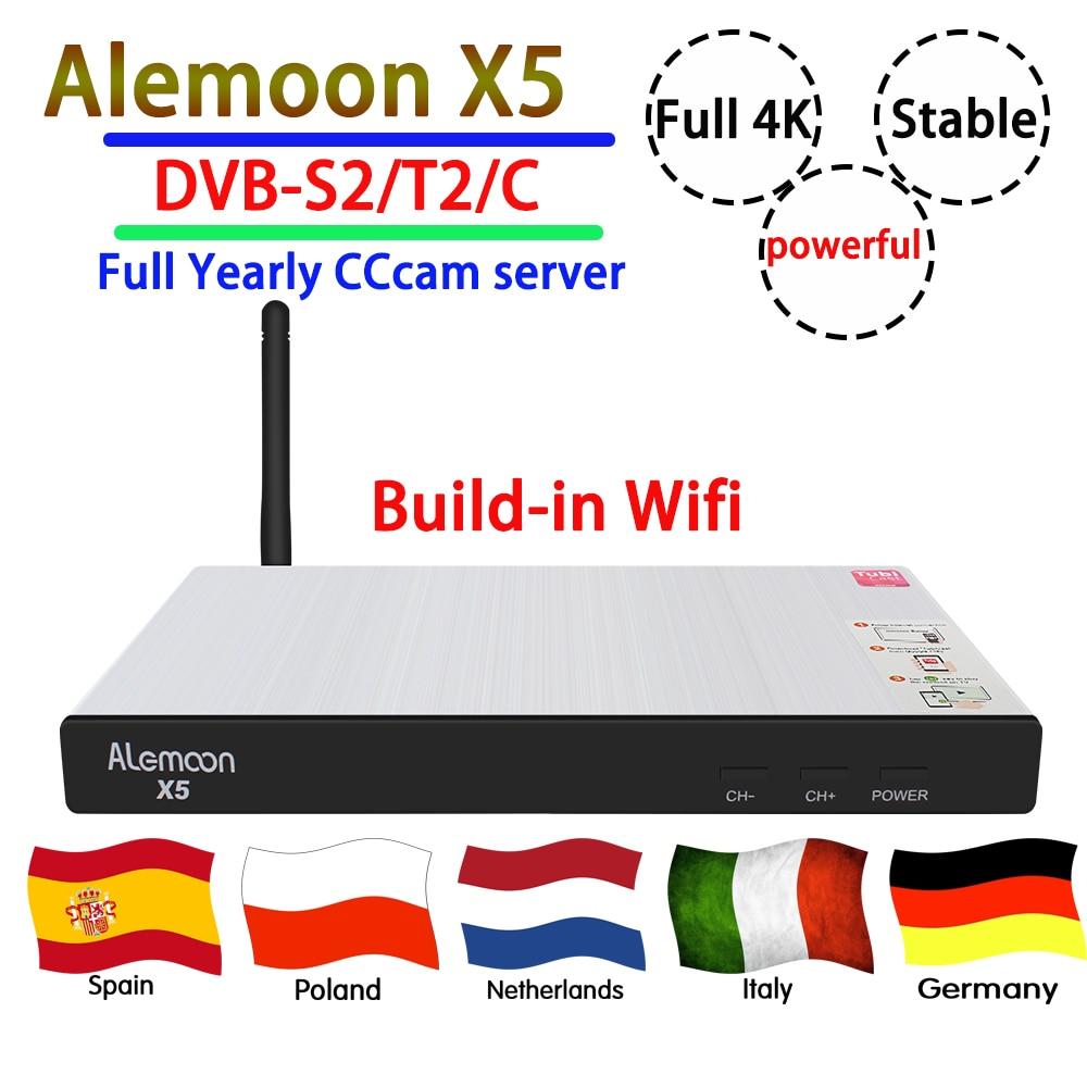 GOTIT Powerful ALEMOON X5 DVB S2 T2 C function decoder best satellite receiver full 4K 4