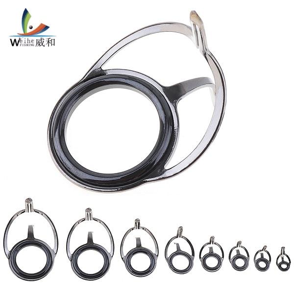 2Pcs 2 Sizes Oval Fishing Rod Guide Eyes Ceramic Ring Foldable DIY