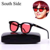 G DRAGON Korea Brand Gentle The SOUTH SIDE Womens Sunglasses Brand Designer Red Lens Retro Sunglasses with Original Case
