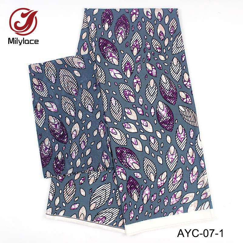 2018 latest 2 in 1 design hot selling yards Chiffon+4 Satin fabric fashionable african wax pattern printed AYC-07