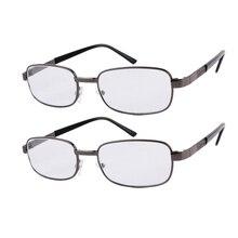 2x очки для чтения, стильная металлическая оправа, очки для чтения, Брендовые очки, мужские, женские, от+ 1,0 до+ 4,0 линзы, серая оправа