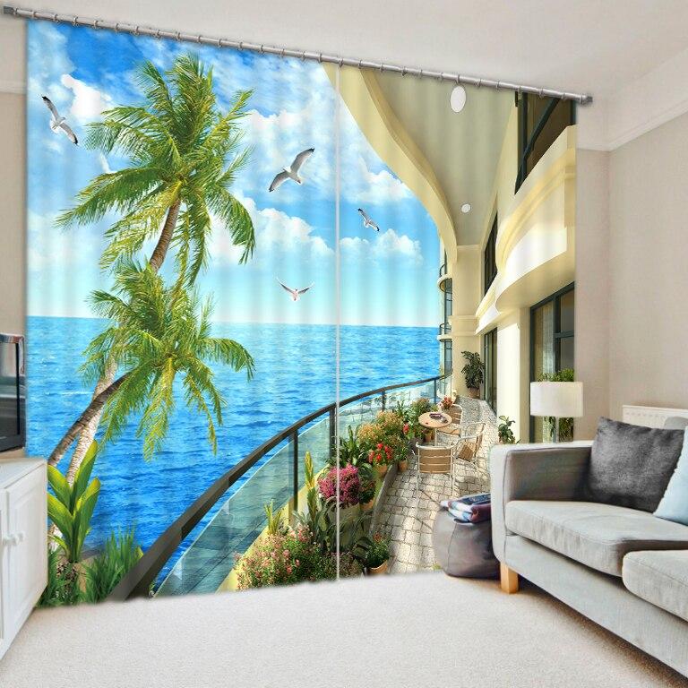 Фэнтези 2016 пользовательские Шторы для гостиной балкон seabeach Высокое качество настроить размер современный