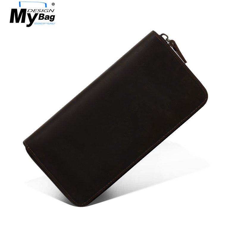 DESIGN MYBAG Crazy Horse Genuine Leather Wallet for Men Long Slim Clutch Bag Zipper Cash Purse Phone Wallets With Card Holder genuine crazy horse cowhide leather men wallets fashion purse with card holder vintage long wallet clutch bag coin purse tw1648