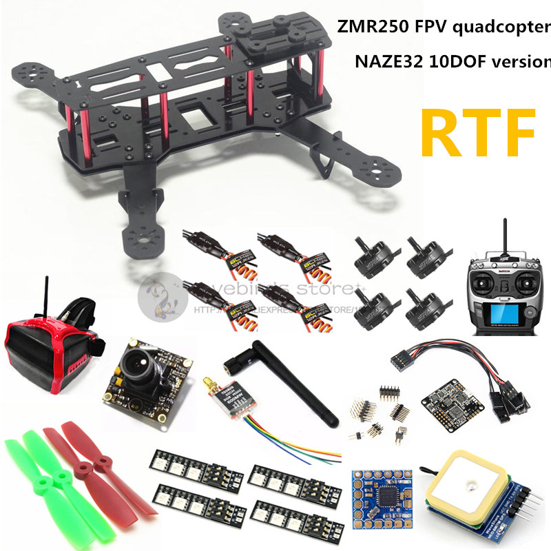 DIY mini drone FPV ZMR250  quadcopter RTF NAZE32 10DOF + 2204II 2300KV motor + AT9 remote control + 700TVL camera + 6m GPS mini 250 quadcopter accessories portable protective carrying bag waterproof nylon for diy rtf 250 size racing drone f18682