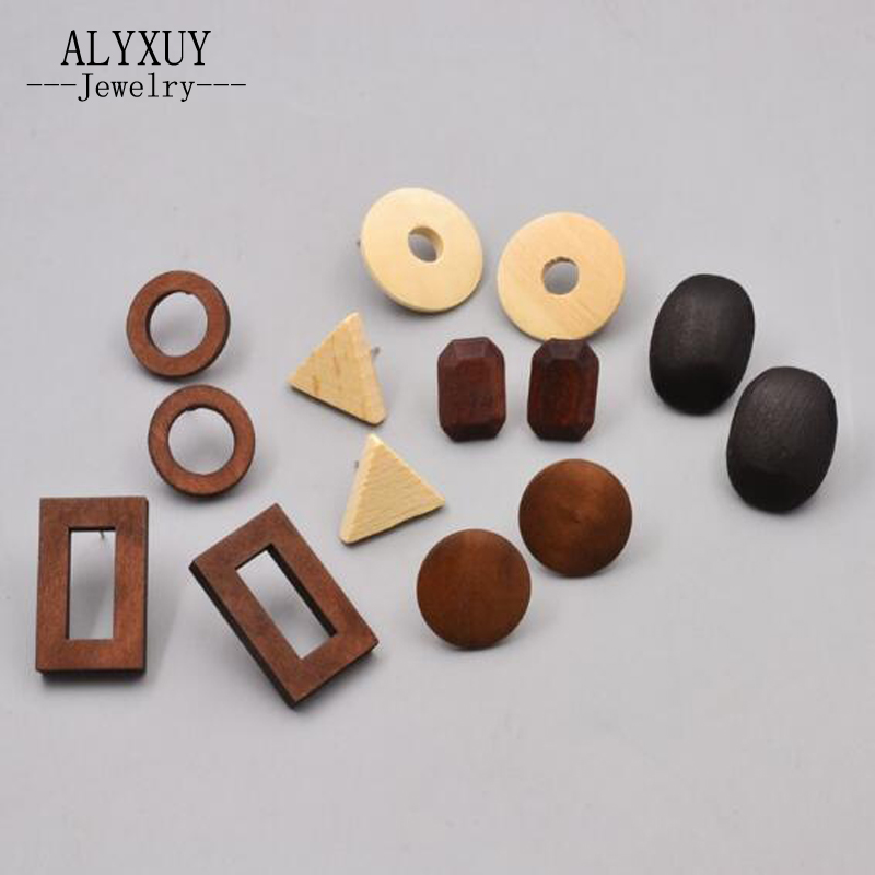 wholesale New fashion jewelry Valentines Day wooden easy geometry stud gift for women girl E3061 ...