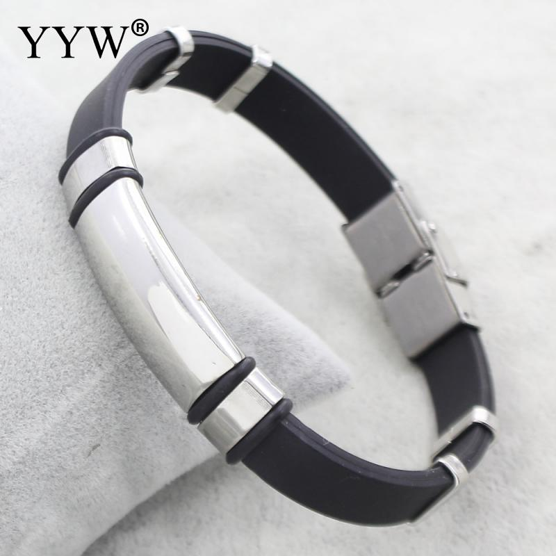 Classic Stainless Steel <font><b>Bracelet</b></font> Man <font><b>Bracelets</b></font> Fashion Male Jewelry Black Bangles Made Of Silicone Men Armband image