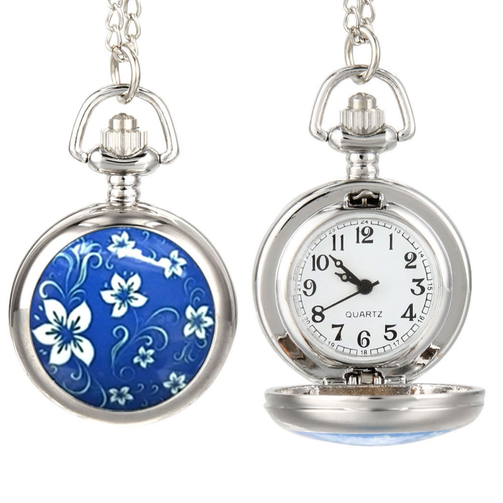 Fashion Vintage Women Pocket Watch Alloy Blue Flowers Pattern Lady Girl Sweater Chain Necklace Pendant Clock Gifts LXH
