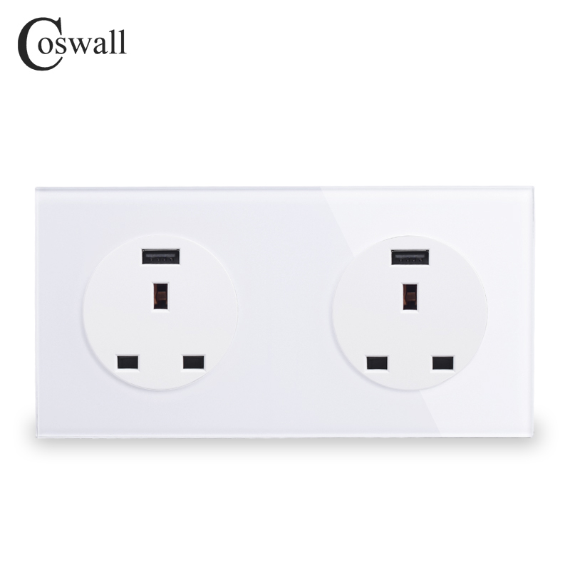 Coswall Crystal Glass Panel Double 13A Wall Outlet UK Power Socket With Dual USB Fast Charging Port 171mm*86mm R11 SeriesCoswall Crystal Glass Panel Double 13A Wall Outlet UK Power Socket With Dual USB Fast Charging Port 171mm*86mm R11 Series