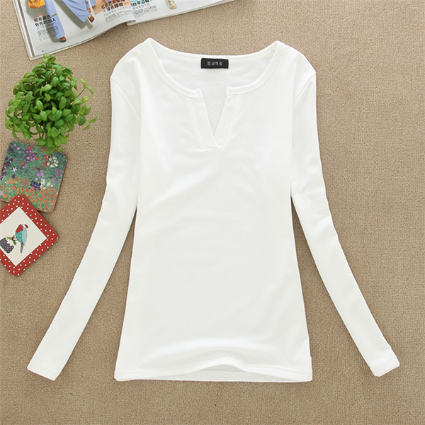 HTB1lwBixsuYBuNkSmRyq6AA3pXay - Women Korean t shirt Basic V Neck Long Sleeve Fitted Plain Top Solid Stretch Shirt