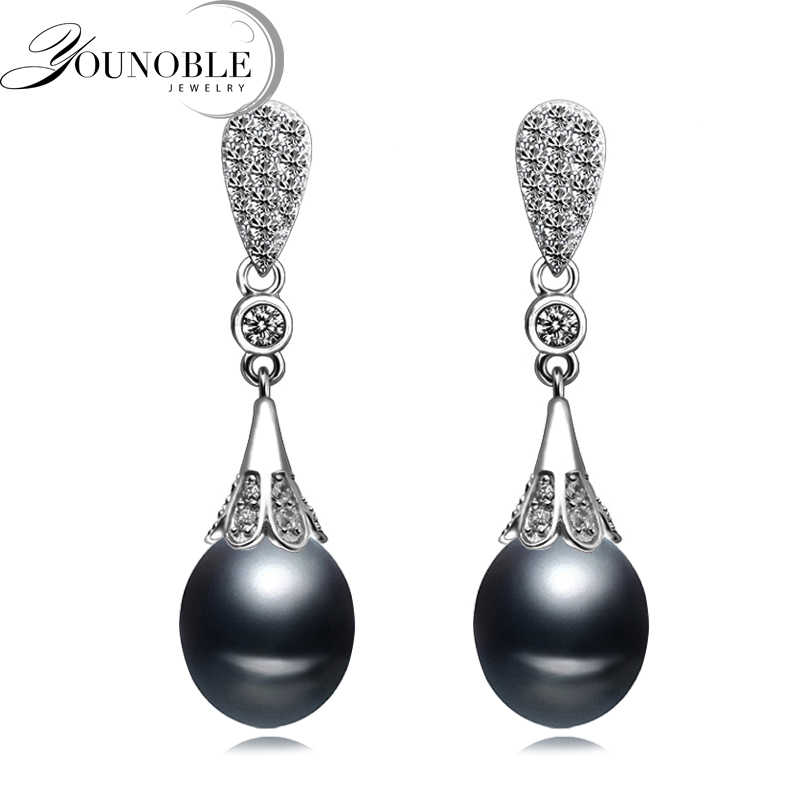 Real freshwater natural pearl earrings women,anniversary gift bridal black 925 silver earrings with pearls