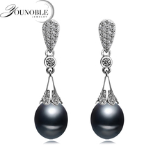 Real freshwater natural pearl earrings women,anniversary gift bridal black 925 silver with pearls