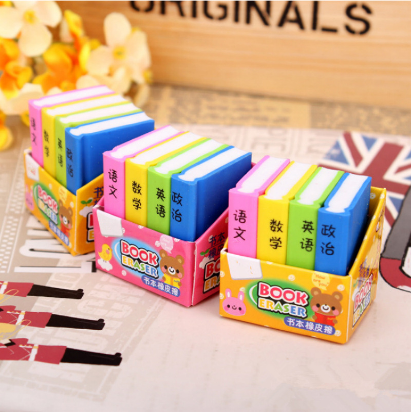MQStyle 4 Pcs / Lot Creative Book Style Pencil Eraser Kid Stationery School Office Supply Children Education Gift H1466