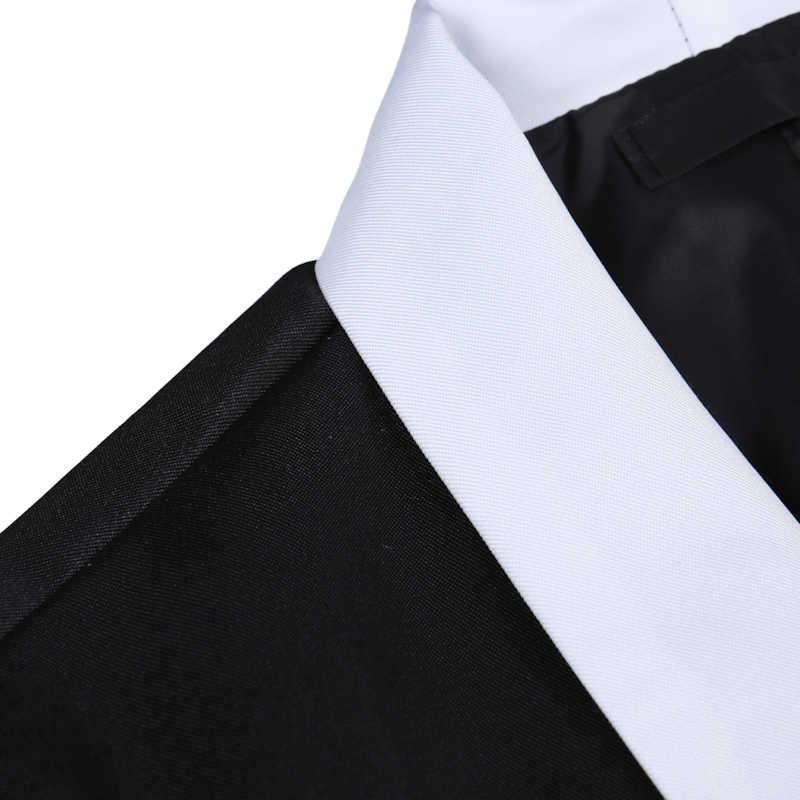 ホワイトラペルブレザー男性ワンボタンメンズドレススーツブレザージャケットカジュアルスリムフィットビジネス結婚式 Veste オム黒 Hombre