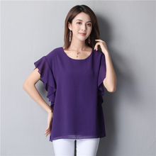 New arrival Women Chiffon Blouse 2019 Summer Beach Loose Solid color Short sleeve Casual O-Neck Plus Size Female Fat Tops