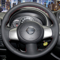 Hand-stitched Black Leather Steering Wheel Cover for Nissan March Sunny Versa 2013 Almera