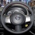 Mão-costurado Preto Cobertura de Volante de Couro para Nissan Sunny Versa Março 2013 Almera