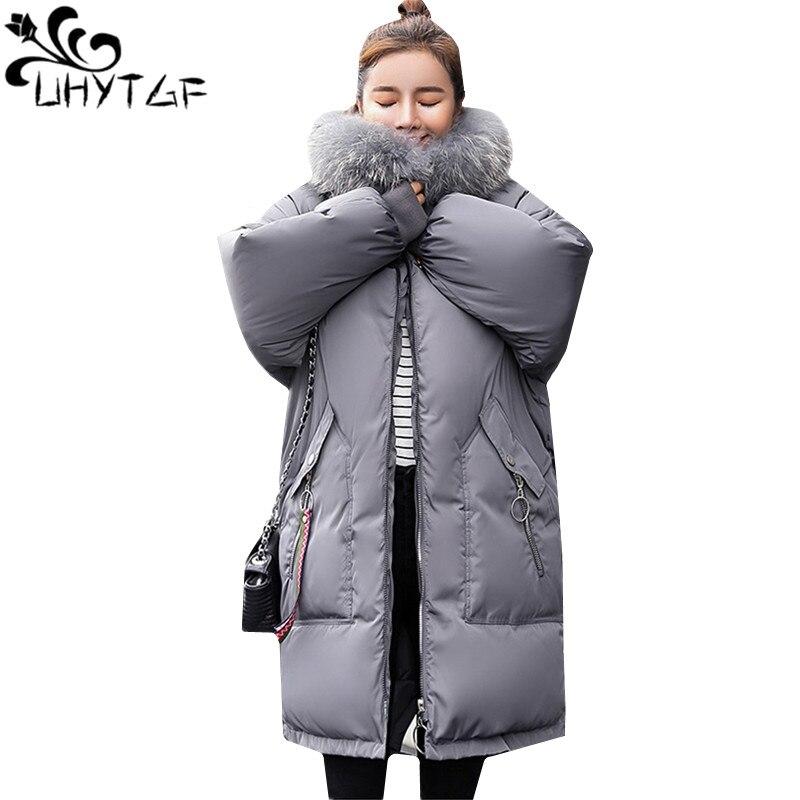 UHYTGF 4XL Oversize Winter Down Jacket Women Fur collar Hooded Thicken Down cotton Warm Coat   Parka   Women Plus size Outerwear 731