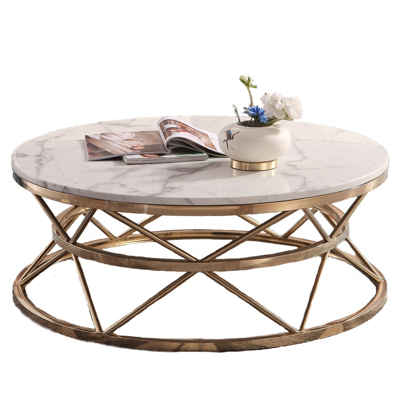 40cm High Round Coffee Table With Artificial Marble Tabletop
