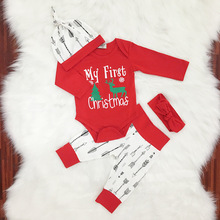 Christmas 3PCS Baby Sets Newborn Infant Baby Girls Boys Letter Print Long Sleeve Romper Tops+Pant+Hat Set Baby Clothes Y16#F недорого