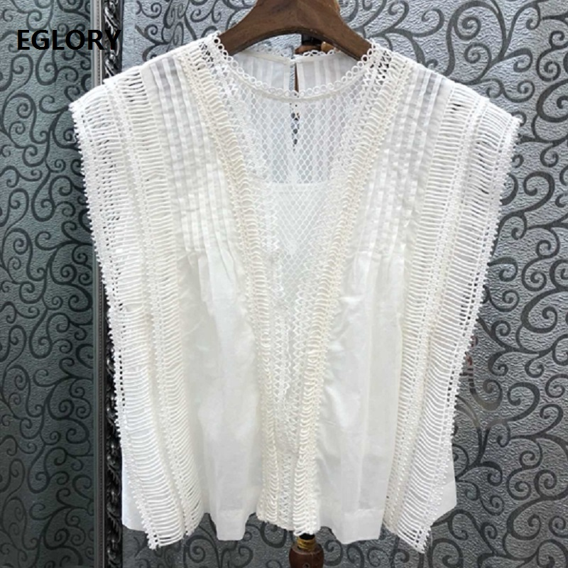 100%Cotton Tops 2019 Summer Fashion White Black Tops Women Hollow Out Embroidery Blouse Shirts Elegant Lady Tops Blusas Feminino