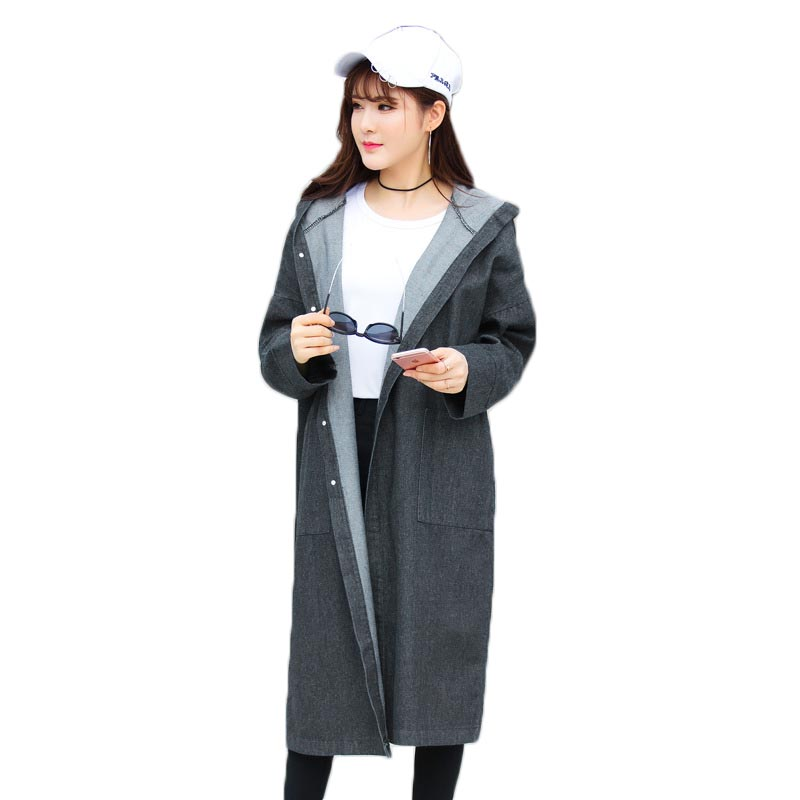 Womens windbreaker coat 2018 spring fashion solid color long-sleeved long section cloak casual loose hooded trench coat female